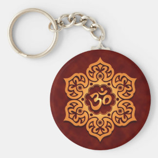 Floral Golden Red Aum Design Key Ring