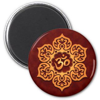 Floral Golden Red Aum Design 6 Cm Round Magnet