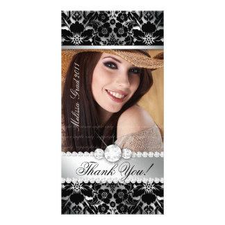 Floral Graduation Photo Card Silver Black Damask