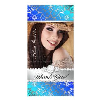Floral Graduation Photo Card Silver Blue Damask