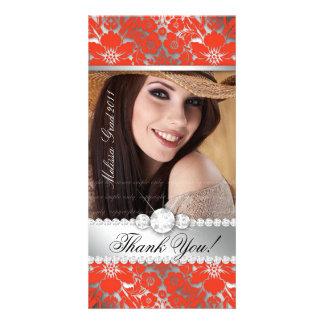 Floral Graduation Photo Card Silver Orange Damask