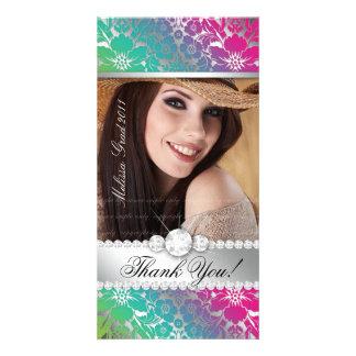 Floral Graduation Photo Card Silver PGB Damask