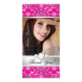 Floral Graduation Photo Card Silver Pink Damask