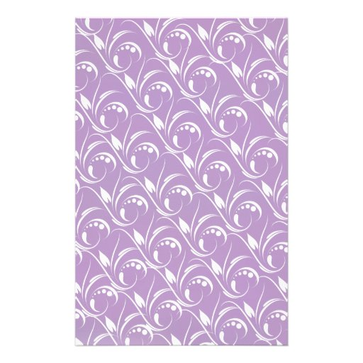 Floral Graphic Design On African Violet Background Customized Stationery