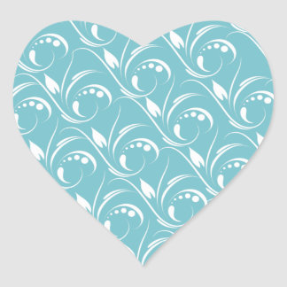Floral Graphic Design On Blue Curacao Background Heart Sticker
