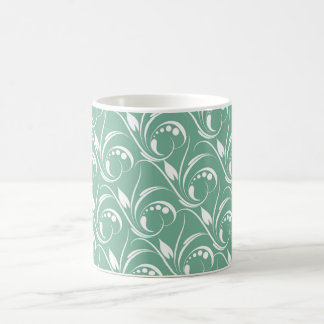 Floral Graphic Design On Spearmint Green Pattern Mugs