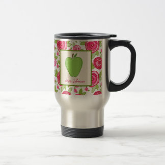 Floral & Green Apple Teacher Mug