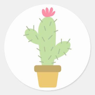 Floral Green Cactus Pink Flower Southwestern Classic Round Sticker