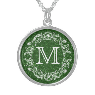 Floral Green Glitz Monogrammed Sterling Silver Necklace