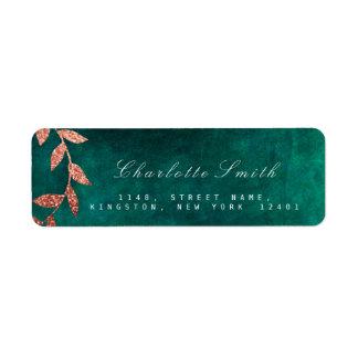 Floral Green Golden faux Return Address Labels