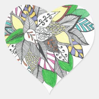 Floral Green Leaf Heart Sticker