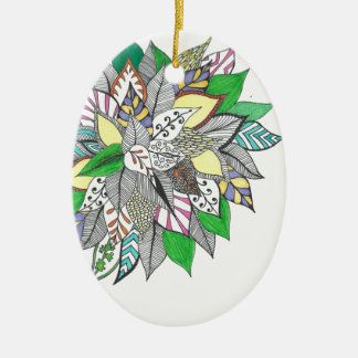 Floral Green Leaf Zentangle Ornaments