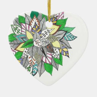 Floral Green Leaf Zentangle Ornament
