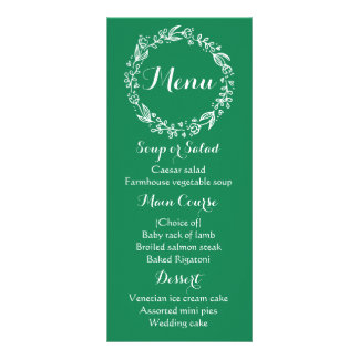Floral Green Menu Flowers Wedding Party