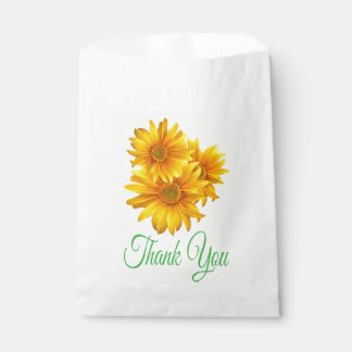 Floral Green Thank You Sunflower Yellow Flower Favour Bags