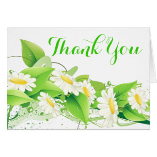 Floral Green Thank You White Daisies Flowers Card