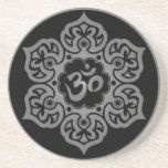Floral Grey and Black Aum Design Drink Coaster