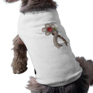 Floral Grey Awareness Ribbon Dog Shirt