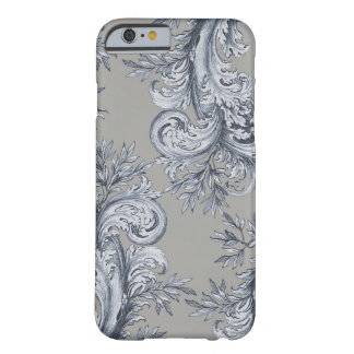 Floral Grey Swirl Engraving Barely There iPhone 6 Case