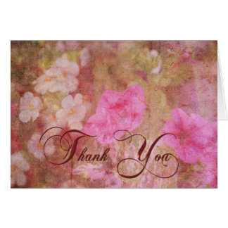 Floral Grunge Thank You Greeting Card
