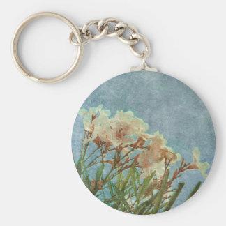 Floral Grunge Vintage Photo Basic Round Button Key Ring