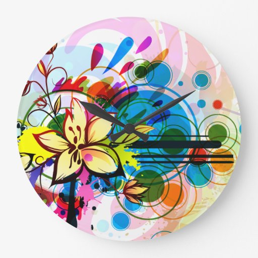 floral grungy with swirls clock