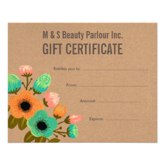 Floral Hair Beauty Salon Gift Certificate Template Flyers