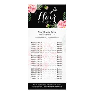Floral Hair Stylist Modern Beauty Salon Price List Rack Card Design