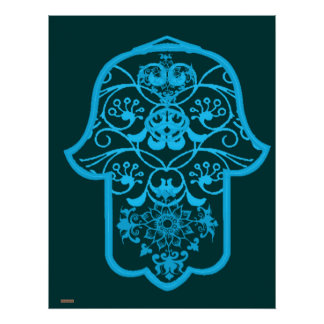Floral Hamsa (Blue) Poster