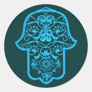 Floral Hamsa Blue Round Stickers