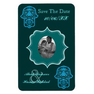Floral Hamsa (Blue) (Save The Date) Rectangular Photo Magnet