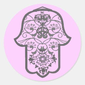 Floral Hamsa Classic Round Sticker