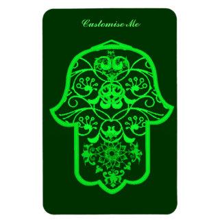 Floral Hamsa (Green) Rectangular Photo Magnet