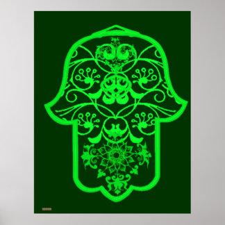 Floral Hamsa (Green) Posters