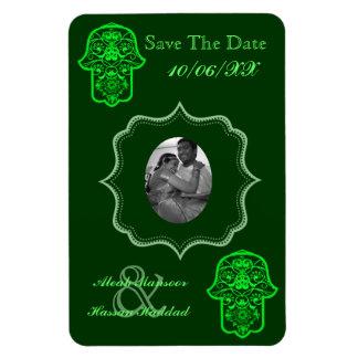 Floral Hamsa (Green) (Save The Date) Rectangular Photo Magnet