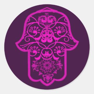 Floral Hamsa Pink Classic Round Sticker