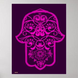 Floral Hamsa Pink Poster