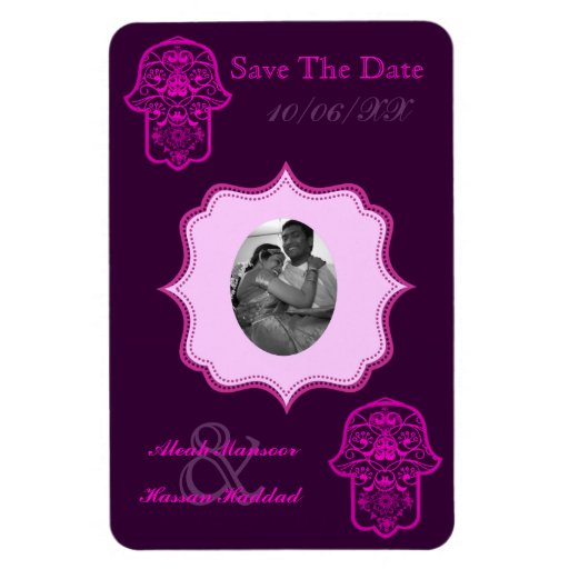 Floral Hamsa (Pink) (Save The Date) Rectangle Magnets