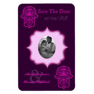 Floral Hamsa (Pink) (Save The Date) Rectangular Photo Magnet