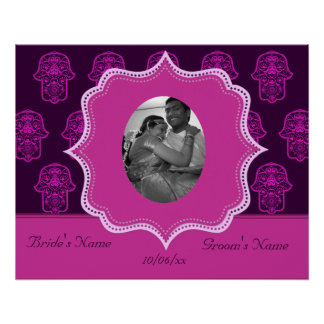 Floral Hamsa (Pink) (Wedding) Poster