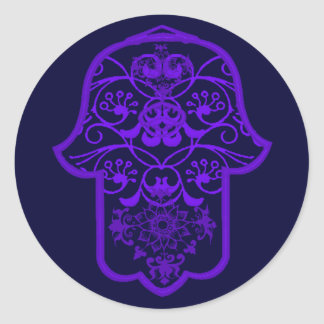 Floral Hamsa (Purple) Classic Round Sticker