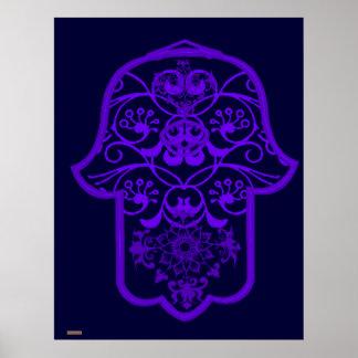 Floral Hamsa (Purple) Poster