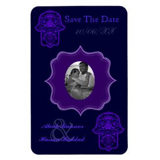 Floral Hamsa (Purple) (Save The Date) Rectangular Photo Magnet