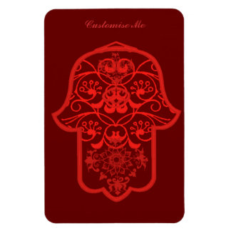 Floral Hamsa (Red) Rectangular Photo Magnet