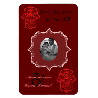 Floral Hamsa (Red) (Save The Date) Rectangular Photo Magnet