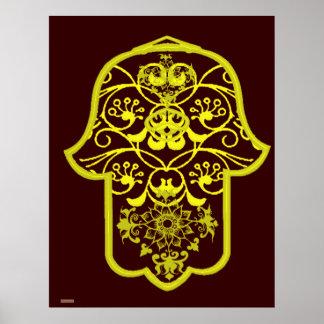 Floral Hamsa (Yellow) Poster