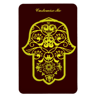 Floral Hamsa Yellow Rectangle Magnets