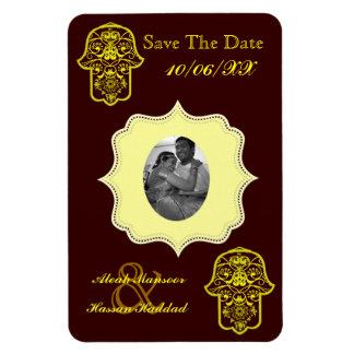 Floral Hamsa (Yellow) (Save The Date) Rectangular Photo Magnet