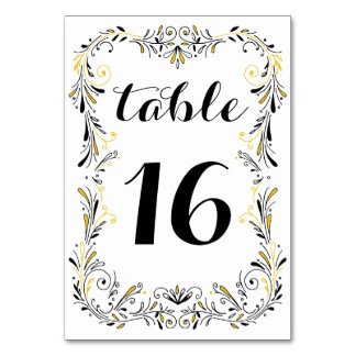 Foliage Number Table Table Cards Place Cards Zazzlecouk - Table number template