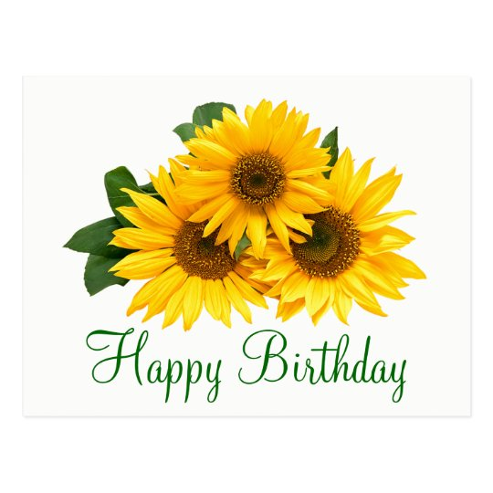 Floral Happy Birthday Sunflower Yellow Flowers Postcard